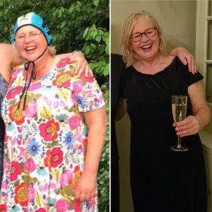 Samma kvinna före och efter viktnedgång